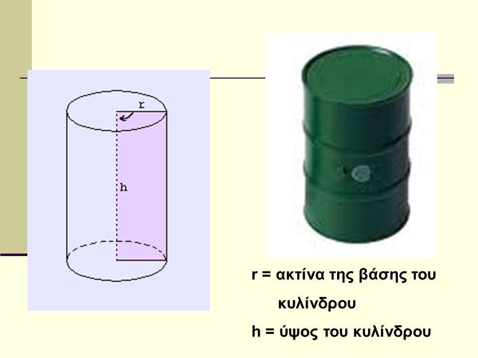 r = ακτίνα της βάσης του κυλίνδρου h = ύψος του κυλίνδρου