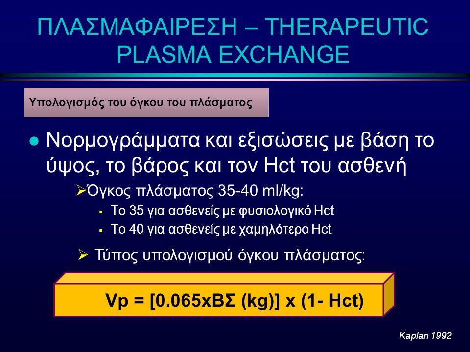 ΠΛΑΣΜΑΦΑΙΡΕΣΗ – THERAPEUTIC PLASMA EXCHANGE l Νορμογράμματα και εξισώσεις με βάση το ύψος, το βάρος και τον Hct του ασθενή  Όγκος πλάσματος 35-40 ml/