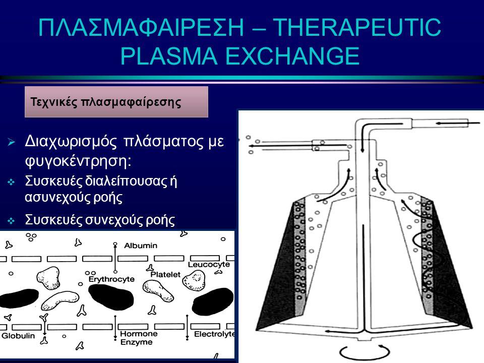 ΠΛΑΣΜΑΦΑΙΡΕΣΗ – THERAPEUTIC PLASMA EXCHANGE  Διαχωρισμός πλάσματος με φυγοκέντρηση:  Συσκευές διαλείπουσας ή ασυνεχούς ροής  Συσκευές συνεχούς ροής