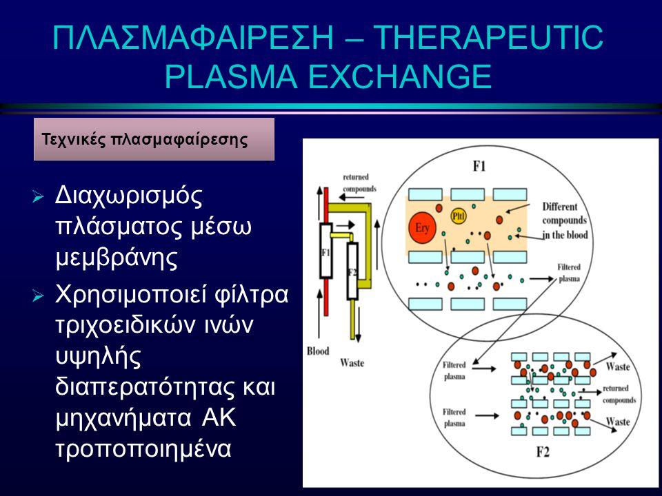 ΠΛΑΣΜΑΦΑΙΡΕΣΗ – THERAPEUTIC PLASMA EXCHANGE  Διαχωρισμός πλάσματος μέσω μεμβράνης  Χρησιμοποιεί φίλτρα τριχοειδικών ινών υψηλής διαπερατότητας και μ