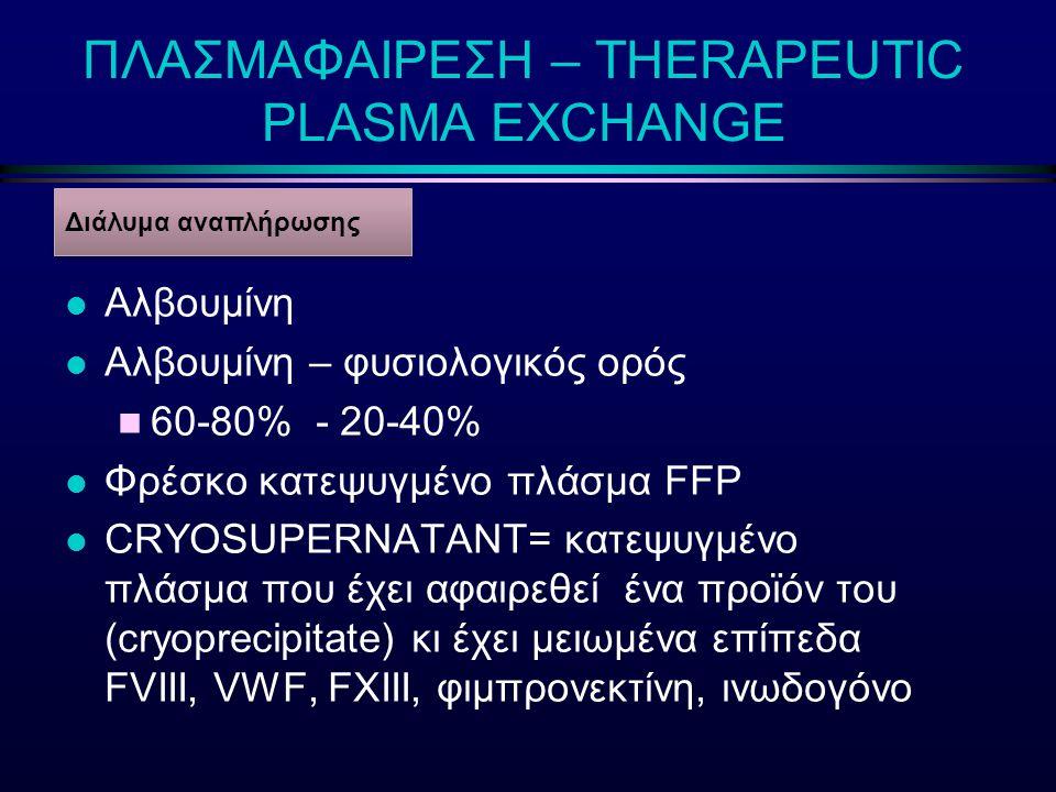 l Αλβουμίνη l Αλβουμίνη – φυσιολογικός ορός n 60-80% - 20-40% l Φρέσκο κατεψυγμένο πλάσμα FFP l CRYOSUPERNATANT= κατεψυγμένο πλάσμα που έχει αφαιρεθεί