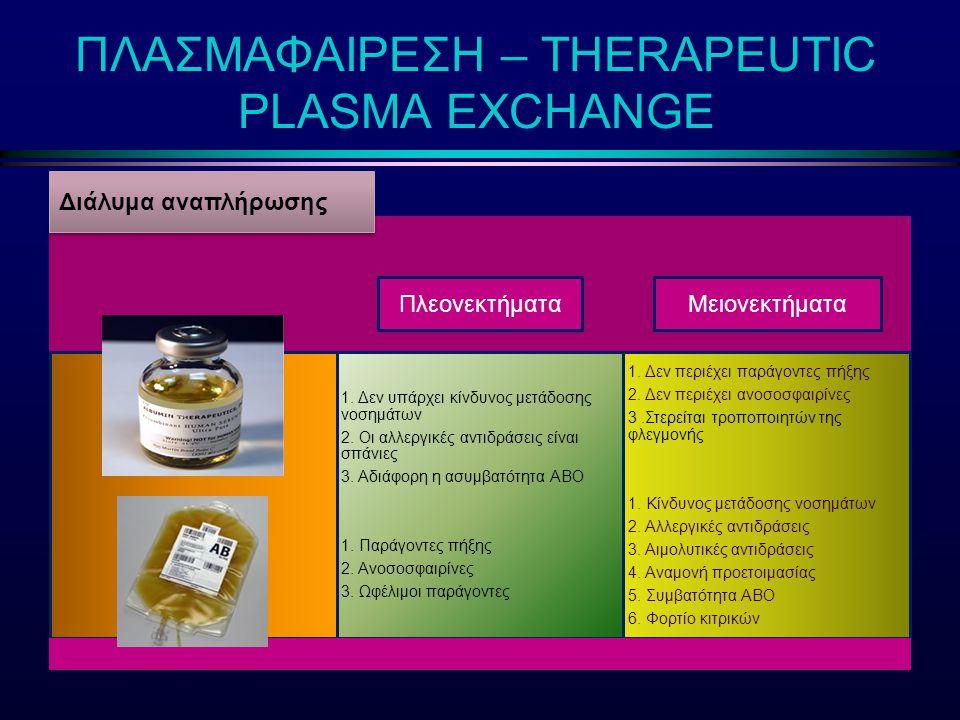 ΠΛΑΣΜΑΦΑΙΡΕΣΗ – THERAPEUTIC PLASMA EXCHANGE ΜειονεκτήματαΠλεονεκτήματα Διάλυμα αναπλήρωσης