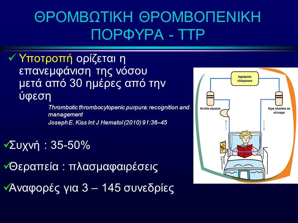 ΘΡΟΜΒΩΤΙΚΗ ΘΡΟΜΒΟΠΕΝΙΚΗ ΠΟΡΦΥΡΑ - ΤΤΡ Yποτροπή ορίζεται η επανεμφάνιση της νόσου μετά από 30 ημέρες από την ύφεση Thrombotic thrombocytopenic purpura: