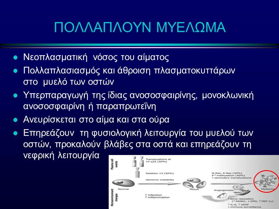 l Νεοπλασματική νόσος του αίματος l Πολλαπλασιασμός και άθροιση πλασματοκυττάρων στο μυελό των οστών l Υπερπαραγωγή της ίδιας ανοσοσφαιρίνης, μονοκλων
