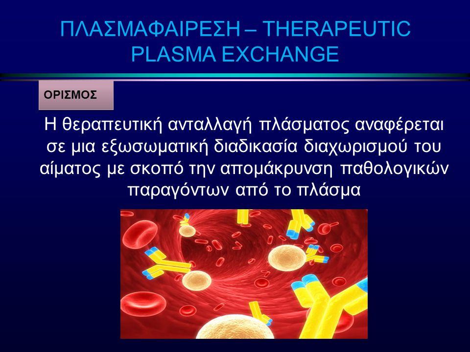 Θεραπευτικές Δράσεις l Απομάκρυνση παθολογικών κυκλοφορούντων παραγόντων:  Αντισώματα (νόσος anti-GBM, βαριά μυασθένεια, σύνδρομο Gullain-Barre)  Μονοκλωνική πρωτεΐνη (μακροσφαιριναιμία Waldestrom, πρωτεΐνη μυελώματος)  Κυκλοφορούντα ανοσοσυμπλέγματα (κρυοσφαιριναιμία, ΣΕΛ)  Αλλοαντισώματα (Rh αλλοανοσοποίηση στην κύηση)  Τοξικοί παράγοντες