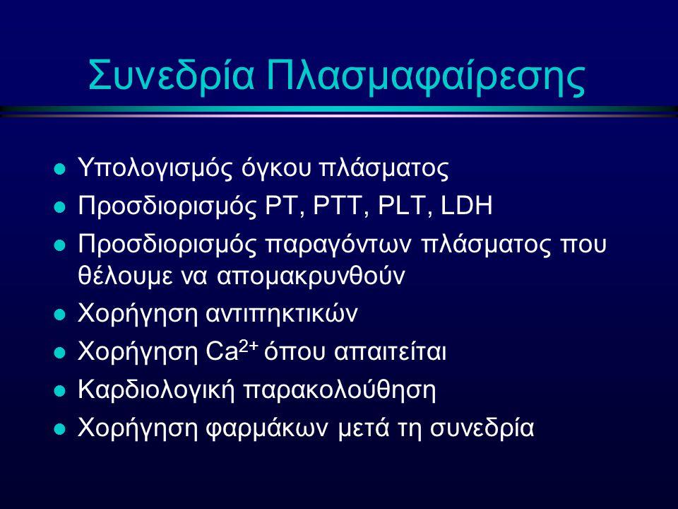 Συνεδρία Πλασμαφαίρεσης l Υπολογισμός όγκου πλάσματος l Προσδιορισμός PT, PTT, PLT, LDH l Προσδιορισμός παραγόντων πλάσματος που θέλουμε να απομακρυνθ