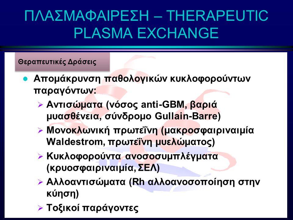 ΠΛΑΣΜΑΦΑΙΡΕΣΗ – THERAPEUTIC PLASMA EXCHANGE l Αγγειακή προσπέλαση  Κεντρικοί καθετήρες (πλασμαφαίρεση μέσω φίλτρου)  Μεγάλη περιφερική φλέβα (πλασμαφαίρεση με φυγοκέντρηση) l Αντιπηκτική αγωγή  Ηπαρίνη (πλασμαφαίρεση μέσω φίλτρου)  Κιτρικά (πλασμαφαίρεση με φυγοκέντρηση) l Διάλυμα αναπλήρωσης Προϋποθέσεις