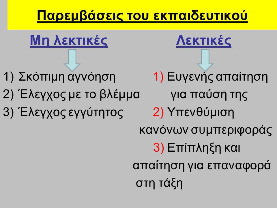 Παρεμβάσεις του εκπαιδευτικού Μη λεκτικές Λεκτικές 1)Σκόπιμη αγνόηση 1) Ευγενής απαίτηση 2)Έλεγχος με το βλέμμα για παύση της 3)Έλεγχος εγγύτητος 2) Υ