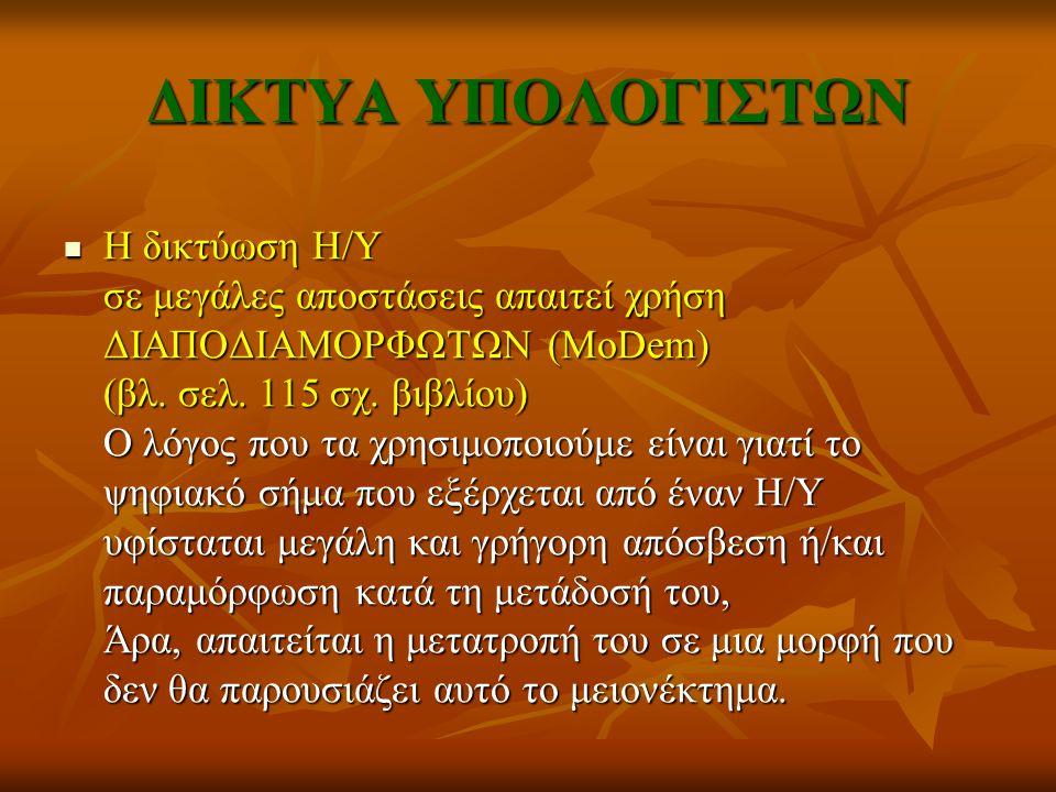 ΔΙΚΤΥΑ ΥΠΟΛΟΓΙΣΤΩΝ ΔΙΚΤΥΑ ΤΟΠΙΚΗΣ ΕΜΒΕΛΕΙΑΣ π.χ.
