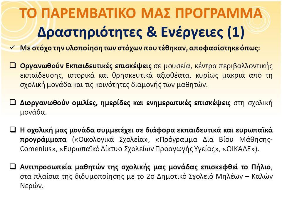 ΤΟ ΠΑΡΕΜΒΑΤΙΚΟ ΜΑΣ ΠΡΟΓΡΑΜΜΑ Δραστηριότητες & Ενέργειες (1) Με στόχο την υλοποίηση των στόχων που τέθηκαν, αποφασίστηκε όπως:  Οργανωθούν Εκπαιδευτικές επισκέψεις σε μουσεία, κέντρα περιβαλλοντικής εκπαίδευσης, ιστορικά και θρησκευτικά αξιοθέατα, κυρίως μακριά από τη σχολική μονάδα και τις κοινότητες διαμονής των μαθητών.