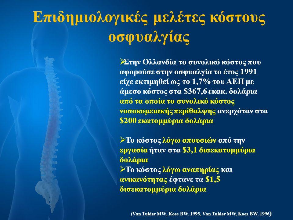 ΚΟΣΤΟΣ ΟΣΦΥΑΛΓΙΑΣ ΠΑΓΚΟΣΜΙΩΣ  Άμεσα κόστη συμπεριλαμβανομένων των ιατρικών δαπανών, όπως τα κόστη πρόληψης, διάγνωσης, αγωγής, αποκατάστασης, μακροχρόνιας θεραπείας και συνεχιζόμενων ιατρικών και ιδιωτικών εξόδων  Έμμεσα κόστη συμπεριλαμβανομένης της χαμένης παραγωγής ως αποτέλεσμα της μειωμένης ικανότητας εργασίας, χαμένη παραγωγικότητα, χαμένα κέρδη, χαμένα έσοδα των μελών της οικογένειας και χαμένα έσοδα από φόρους  Άυλα κόστη συμπεριλαμβανομένης της ψυχοκοινωνικής επιβάρυνσης που έχει ως αποτέλεσμα τη χειρότερη ποιότητα ζωής, όπως επαγγελματικό, οικονομικό ή και οικογενειακό άγχος και δυστυχία (WHO Scientific Group,2003) Στην Αμερική Στην Αμερική υπολογίζεται το ετήσιο κόστος που δαπανάται συνολικά κατα προσέγγιση 50δισ.