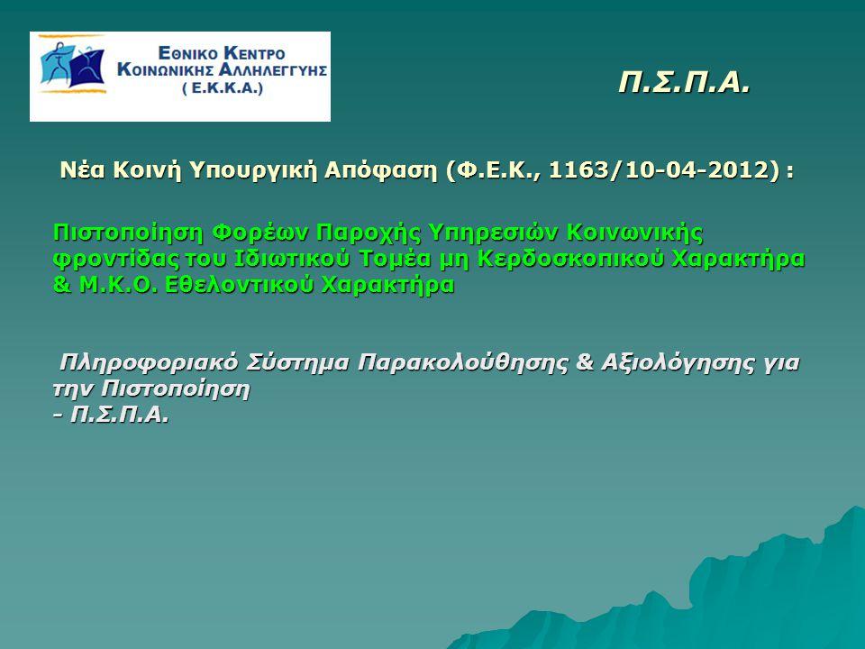 Π.Σ.Π.Α. Π.Σ.Π.Α. Νέα Κοινή Υπουργική Απόφαση (Φ.Ε.Κ., 1163/10-04-2012) : Νέα Κοινή Υπουργική Απόφαση (Φ.Ε.Κ., 1163/10-04-2012) : Πιστοποίηση Φορέων Π