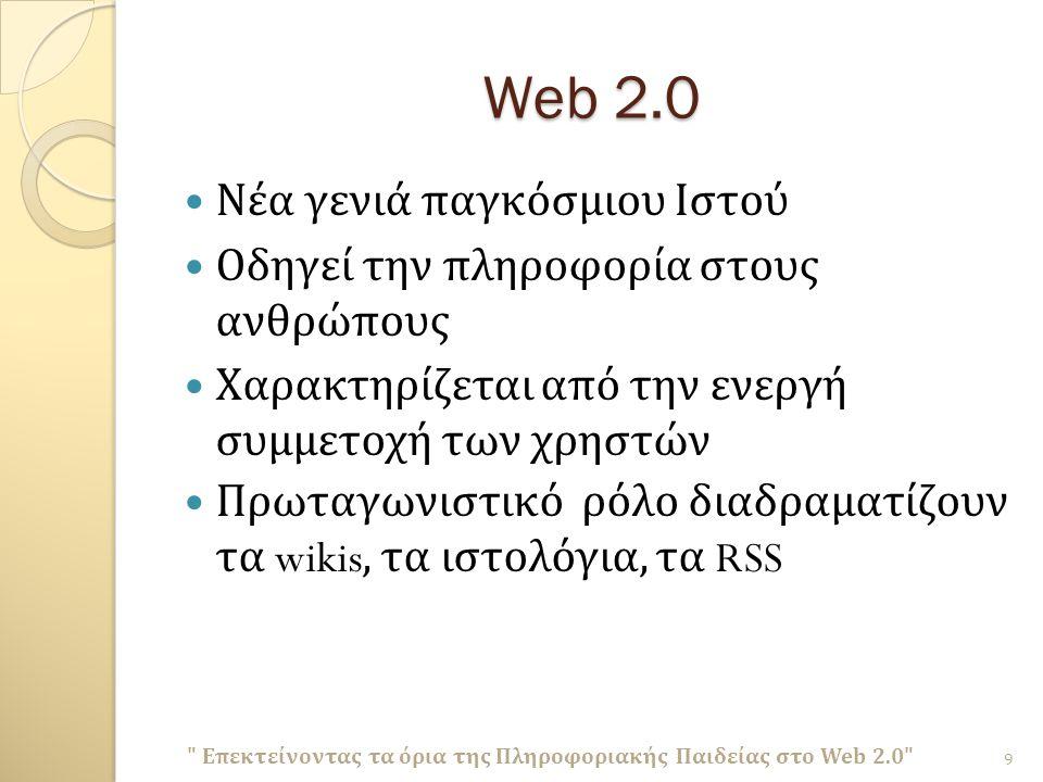 Web 2.0 Νέα γενιά παγκόσμιου Ιστού Οδηγεί την πληροφορία στους ανθρώπους Χαρακτηρίζεται από την ενεργή συμμετοχή των χρηστών Πρωταγωνιστικό ρόλο διαδραματίζουν τα wikis, τα ιστολόγια, τα RSS Επεκτείνοντας τα όρια της Πληροφοριακής Παιδείας στο Web 2.0 9
