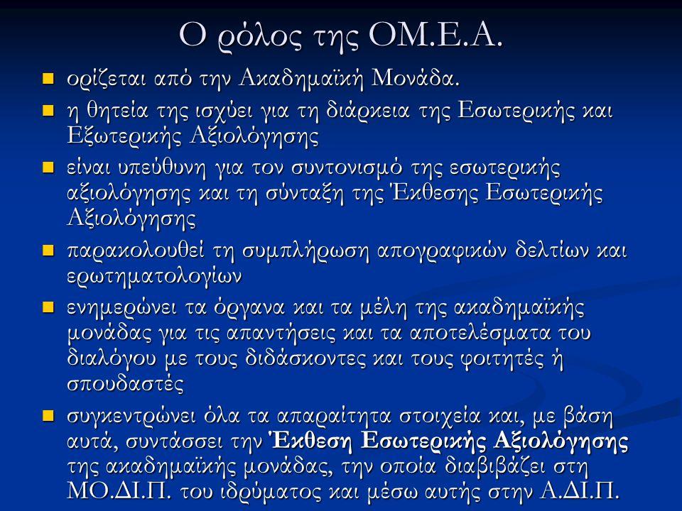 Ο ρόλος της ΟΜ.Ε.Α. ορίζεται από την Ακαδημαϊκή Μονάδα. ορίζεται από την Ακαδημαϊκή Μονάδα. η θητεία της ισχύει για τη διάρκεια της Εσωτερικής και Εξω