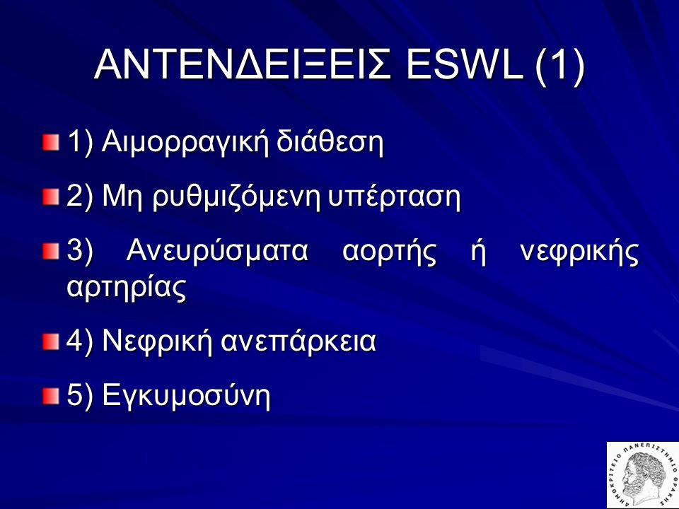 1) Αιμορραγική διάθεση 2) Μη ρυθμιζόμενη υπέρταση 3) Ανευρύσματα αορτής ή νεφρικής αρτηρίας 4) Νεφρική ανεπάρκεια 5) Eγκυμοσύνη AΝΤΕΝΔΕΙΞΕΙΣ ESWL (1)