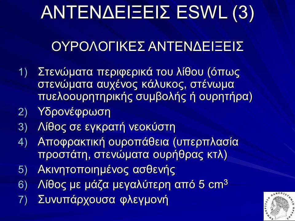 AΝΤΕΝΔΕΙΞΕΙΣ ESWL (3) ΟΥΡΟΛΟΓΙΚΕΣ ΑΝΤΕΝΔΕΙΞΕΙΣ 1) Στενώματα περιφερικά του λίθου (όπως στενώματα αυχένος κάλυκος, στένωμα πυελοουρητηρικής συμβολής ή