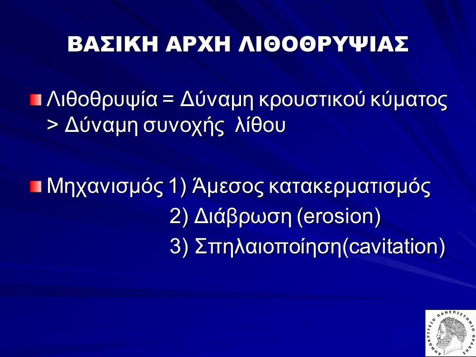 ΒΑΣΙΚΗ ΑΡΧΗ ΛΙΘΟΘΡΥΨΙΑΣ Λιθοθρυψία = Δύναμη κρουστικού κύματος > Δύναμη συνοχής λίθου Μηχανισμός 1) Άμεσος κατακερματισμός 2) Διάβρωση (erosion) 2) Δι