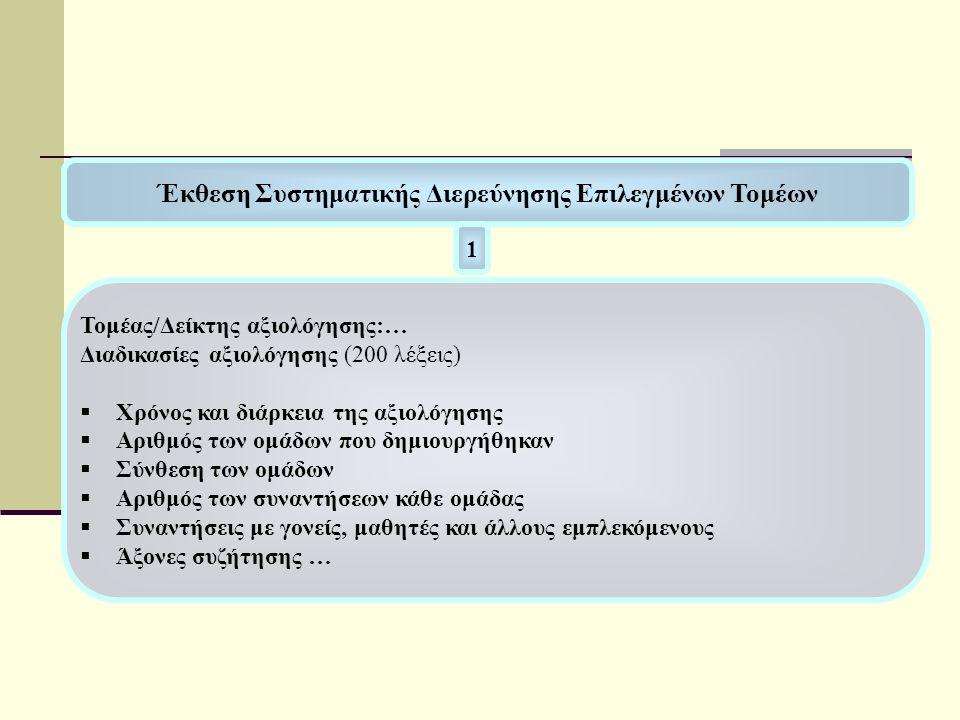 Έκθεση Συστηματικής Διερεύνησης Επιλεγμένων Τομέων 1 Τομέας/Δείκτης αξιολόγησης:… Διαδικασίες αξιολόγησης (200 λέξεις)  Χρόνος και διάρκεια της αξιολ