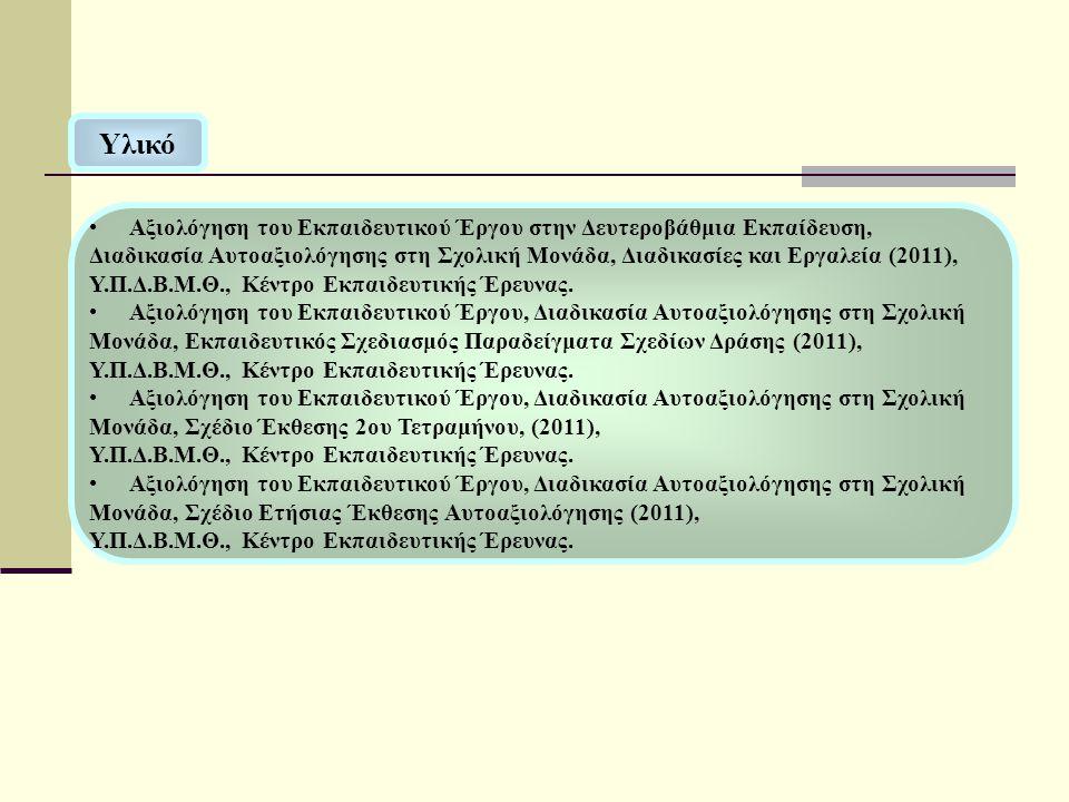 Υλικό Αξιολόγηση του Εκπαιδευτικού Έργου στην Δευτεροβάθμια Εκπαίδευση, Διαδικασία Αυτοαξιολόγησης στη Σχολική Μονάδα, Διαδικασίες και Εργαλεία (2011), Υ.Π.Δ.Β.Μ.Θ., Κέντρο Εκπαιδευτικής Έρευνας.