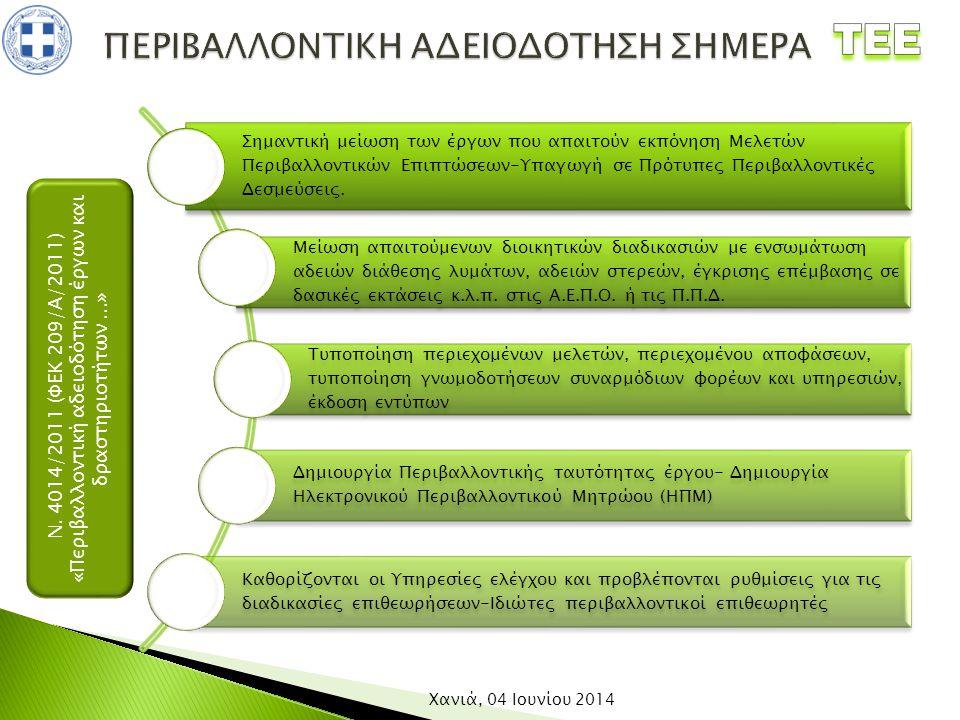Ν. 4014/2011 (ΦΕΚ 209/Α/2011) «Περιβαλλοντική αδειοδότηση έργων και δραστηριοτήτων...» Χανιά, 04 Ιουνίου 2014