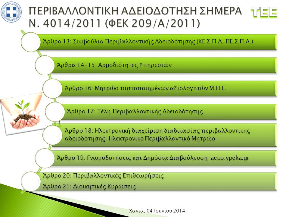 Άρθρο 13: Συμβούλια Περιβαλλοντικής Αδειοδότησης (ΚΕ.Σ.Π.Α, ΠΕ.Σ.Π.Α.) Άρθρα 14-15: Αρμοδιότητες Υπηρεσιών Άρθρο 16: Μητρώο πιστοποιημένων αξιολογητών