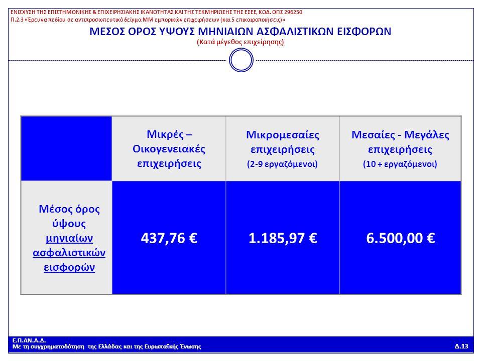 Ε.Π.ΑΝ.Α.Δ. Με τη συγχρηματοδότηση της Ελλάδας και της Ευρωπαϊκής Ένωσης Δ.13 ΜΕΣΟΣ ΟΡΟΣ ΥΨΟΥΣ ΜΗΝΙΑΙΩΝ ΑΣΦΑΛΙΣΤΙΚΩΝ ΕΙΣΦΟΡΩΝ (Κατά μέγεθος επιχείρηση