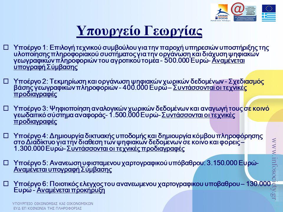 ΥΠΟΥΡΓΕΙΟ ΟΙΚΟΝΟΜΙΑΣ ΚΑΙ ΟΙΚΟΝΟΜΙΚΩΝ ΕΥΔ ΕΠ ΚΟΙΝΩΝΙΑ ΤΗΣ ΠΛΗΡΟΦΟΡΙΑΣ www.infosociety.gr Υπουργείο Γεωργίας  Υποέργο 1: Επιλογή τεχνικού συμβούλου για την παροχή υπηρεσιών υποστήριξης της υλοποίησης πληροφοριακού συστήματος για την οργάνωση και διάχυση ψηφιακών γεωγραφικών πληροφοριών του αγροτικού τομέα - 500.000 Ευρώ- Αναμένεται υπογραφή Σύμβασης  Υποέργο 2: Τεκμηρίωση και οργάνωση ψηφιακών χωρικών δεδομένων - Σχεδιασμός βάσης γεωγραφικών πληροφοριών - 400.000 Ευρώ – Συντάσσονται οι τεχνικές προδιαγραφές  Υποέργο 3: Ψηφιοποίηση αναλογικών χωρικών δεδομένων και αναγωγή τους σε κοινό γεωδαιτικό σύστημα αναφοράς- 1.500.000 Ευρώ- Συντάσσονται οι τεχνικές προδιαγραφές  Υποέργο 4: Δημιουργία δικτυακής υποδομής και δημιουργία κόμβου πληροφόρησης στο Διαδίκτυο για την διαθεση των ψηφιακων δεδομενων σε κοινο και φορεις – 1.300.000 Ευρώ- Συντάσσονται οι τεχνικές προδιαγραφές  Υποέργο 5: Ανανεωση υφισταμενου χαρτογραφικού υπόβαθρου: 3.150.000 Ευρώ- Αναμένεται υπογραφή Σύμβασης  Υποέργο 6: Ποιοτικός ελεγχος του ανανεωμενου χαρτογραφικου υποβαθρου – 130.000 Ευρώ - Αναμένεται προκήρυξη