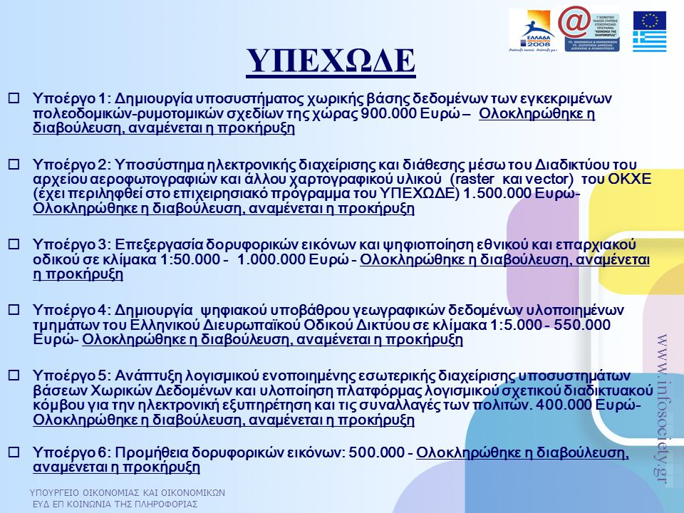 ΥΠΟΥΡΓΕΙΟ ΟΙΚΟΝΟΜΙΑΣ ΚΑΙ ΟΙΚΟΝΟΜΙΚΩΝ ΕΥΔ ΕΠ ΚΟΙΝΩΝΙΑ ΤΗΣ ΠΛΗΡΟΦΟΡΙΑΣ www.infosociety.gr ΥΠΕΧΩΔΕ  Υποέργο 1: Δημιουργία υποσυστήματος χωρικής βάσης δεδομένων των εγκεκριμένων πολεοδομικών-ρυμοτομικών σχεδίων της χώρας 900.000 Ευρώ – Ολοκληρώθηκε η διαβούλευση, αναμένεται η προκήρυξη  Υποέργο 2: Υποσύστημα ηλεκτρονικής διαχείρισης και διάθεσης μέσω του Διαδικτύου του αρχείου αεροφωτογραφιών και άλλου χαρτογραφικού υλικού (raster και vector) του ΟΚΧΕ (έχει περιληφθεί στο επιχειρησιακό πρόγραμμα του ΥΠΕΧΩΔΕ) 1.500.000 Ευρώ- Ολοκληρώθηκε η διαβούλευση, αναμένεται η προκήρυξη  Υποέργο 3: Επεξεργασία δορυφορικών εικόνων και ψηφιοποίηση εθνικού και επαρχιακού οδικού σε κλίμακα 1:50.000 - 1.000.000 Ευρώ - Ολοκληρώθηκε η διαβούλευση, αναμένεται η προκήρυξη  Υποέργο 4: Δημιουργία ψηφιακού υποβάθρου γεωγραφικών δεδομένων υλοποιημένων τμημάτων του Ελληνικού Διευρωπαϊκού Οδικού Δικτύου σε κλίμακα 1:5.000 - 550.000 Ευρώ- Ολοκληρώθηκε η διαβούλευση, αναμένεται η προκήρυξη  Υποέργο 5: Ανάπτυξη λογισμικού ενοποιημένης εσωτερικής διαχείρισης υποσυστημάτων βάσεων Χωρικών Δεδομένων και υλοποίηση πλατφόρμας λογισμικού σχετικού διαδικτυακού κόμβου για την ηλεκτρονική εξυπηρέτηση και τις συναλλαγές των πολιτών.