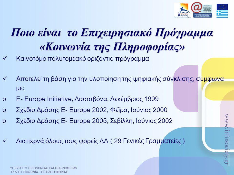 ΥΠΟΥΡΓΕΙΟ ΟΙΚΟΝΟΜΙΑΣ ΚΑΙ ΟΙΚΟΝΟΜΙΚΩΝ ΕΥΔ ΕΠ ΚΟΙΝΩΝΙΑ ΤΗΣ ΠΛΗΡΟΦΟΡΙΑΣ www.infosociety.gr Διάρθρωση του ΕΠ ΚτΠ ΕΤΠΑ 1.266 Μ€ 80% 75% 74,4% 25,6% 20% 25% Συνολικός Προϋπολογισμός Ε.Π.