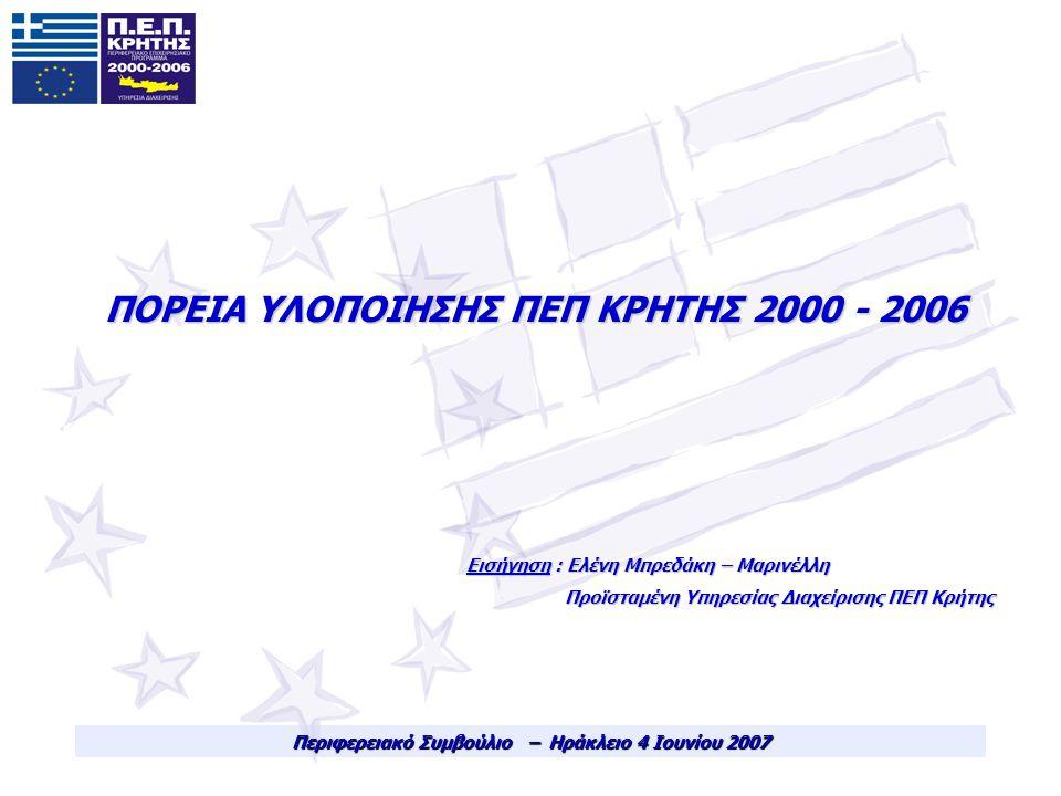 ΠΟΡΕΙΑ ΥΛΟΠΟΙΗΣΗΣ ΠΕΠ ΚΡΗΤΗΣ 2000 - 2006 Περιφερειακό Συμβούλιο – Ηράκλειο 4 Ιουνίου 2007 Εισήγηση : Ελένη Μπρεδάκη – Μαρινέλλη Προϊσταμένη Υπηρεσίας Διαχείρισης ΠΕΠ Κρήτης Προϊσταμένη Υπηρεσίας Διαχείρισης ΠΕΠ Κρήτης