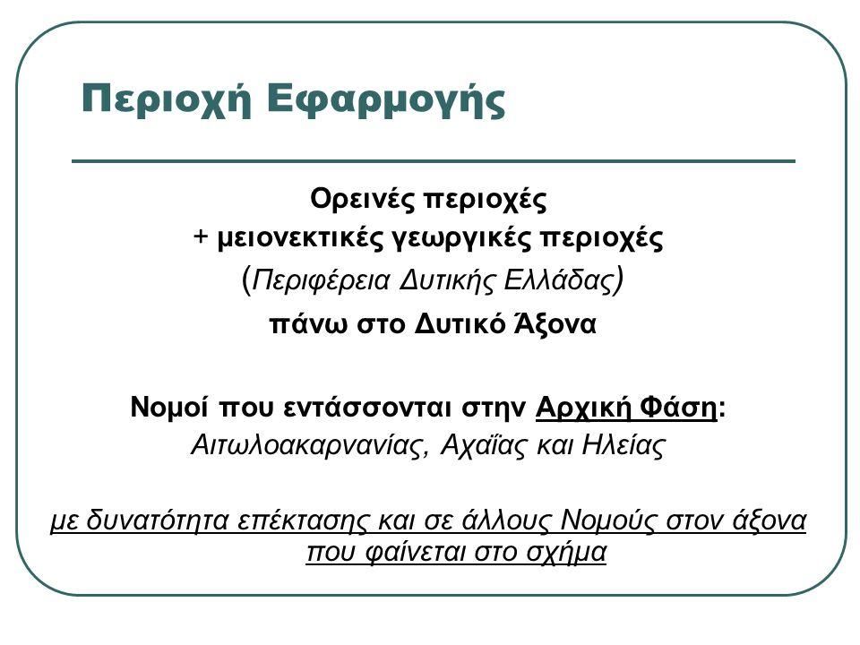 Περιοχή Εφαρμογής Ορεινές περιοχές + μειονεκτικές γεωργικές περιοχές ( Περιφέρεια Δυτικής Ελλάδας ) πάνω στο Δυτικό Άξονα Νομοί που εντάσσονται στην Αρχική Φάση: Αιτωλοακαρνανίας, Αχαΐας και Ηλείας με δυνατότητα επέκτασης και σε άλλους Νομούς στον άξονα που φαίνεται στο σχήμα
