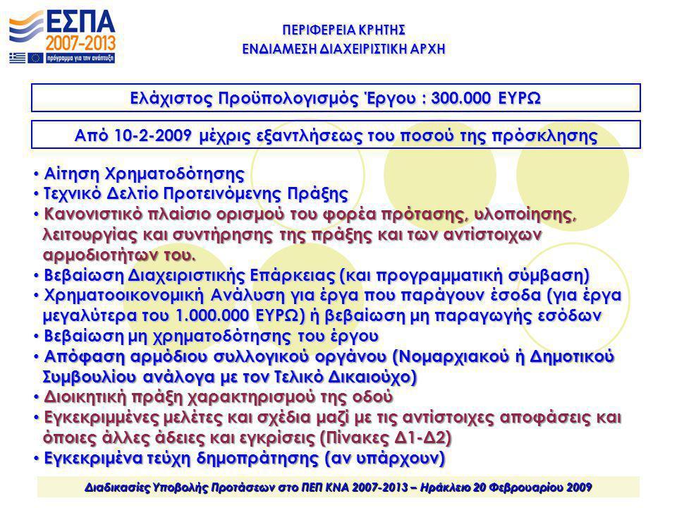 ΠΕΡΙΦΕΡΕΙΑ ΚΡΗΤΗΣ ΕΝΔΙΑΜΕΣΗ ΔΙΑΧΕΙΡΙΣΤΙΚΗ ΑΡΧΗ Διαδικασίες Υποβολής Προτάσεων στο ΠΕΠ ΚΝΑ 2007-2013 – Ηράκλειο 20 Φεβρουαρίου 2009 Ελάχιστος Προϋπολογ