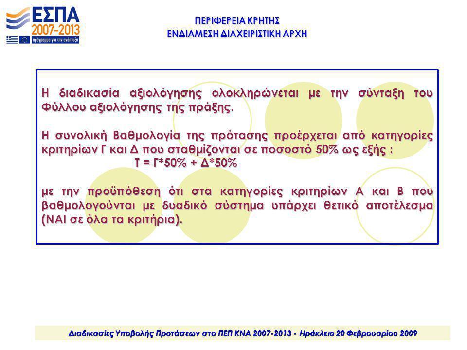 ΠΕΡΙΦΕΡΕΙΑ ΚΡΗΤΗΣ ΕΝΔΙΑΜΕΣΗ ΔΙΑΧΕΙΡΙΣΤΙΚΗ ΑΡΧΗ Διαδικασίες Υποβολής Προτάσεων στο ΠΕΠ ΚΝΑ 2007-2013 - Ηράκλειο 20 Φεβρουαρίου 2009 Η διαδικασία αξιολό