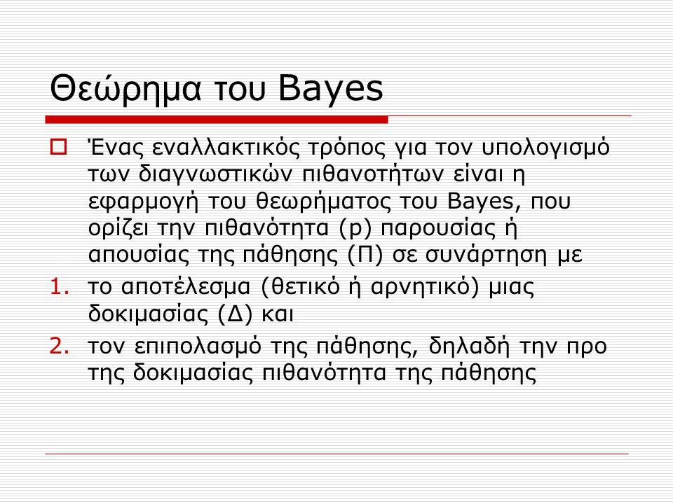 Θ εώρημα του Bayes  Ένας εναλλακτικός τρόπος για τον υπολογισμό των διαγνωστικών πιθανοτήτων είναι η εφαρμογή του θεωρήματος του Bayes, που ορίζει τη