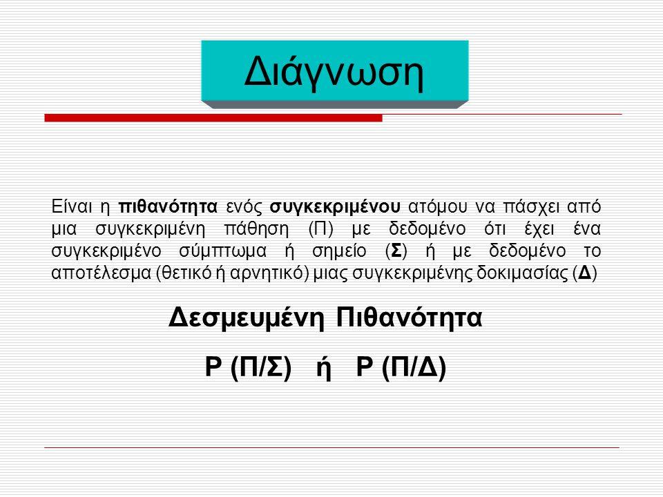  Το αντικείμενο των διαγνωστικών μελετών είναι μια συνάρτηση συχνότητας και πιο συγκεκριμένα η διαγνωστική συνάρτηση συχνότητας  Το μέτρο συχνότητας των παθήσεων που χρησιμοποιείται στη διαγνωστική έρευνα είναι ο επιπολασμός  Η διαγνωστική συνάρτηση είναι ο επιπολασμός μιας πάθησης ως σύνθετη συνάρτηση (περιγραφική, λογιστική) των χαρακτηριστικών του πάσχοντα
