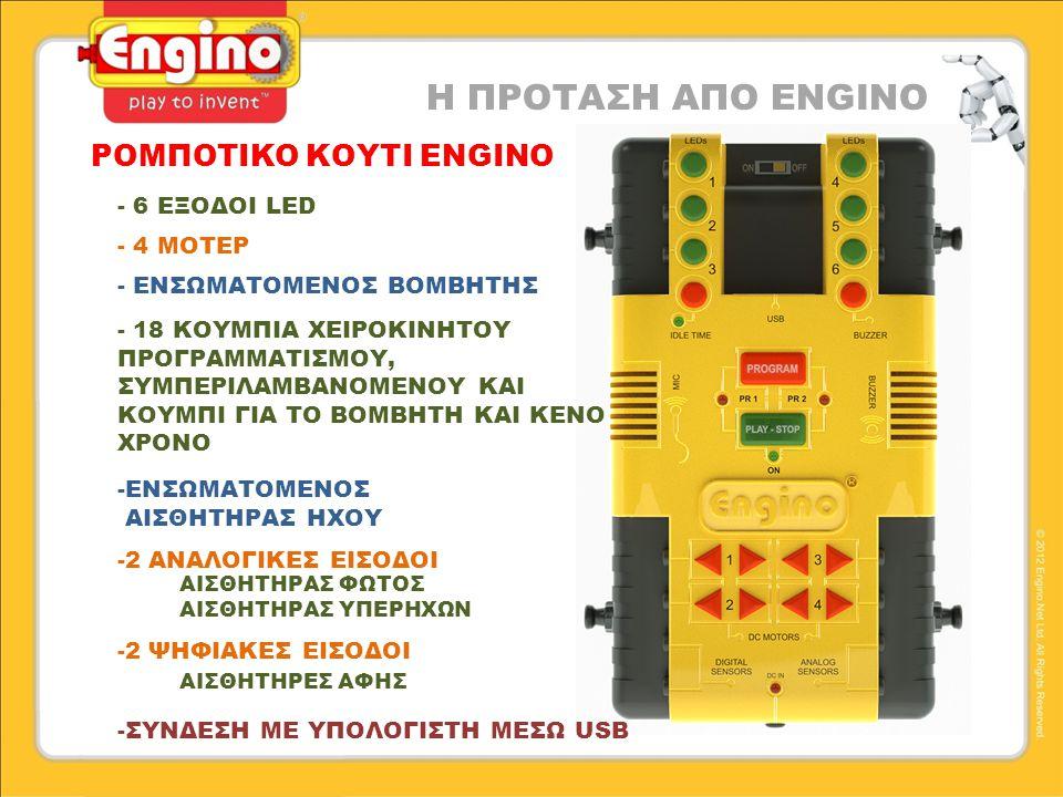 ΡΟΜΠΟΤΙΚΟ ΚΟΥΤΙ ENGINO Η ΠΡΟΤΑΣΗ ΑΠΟ ENGINO - 6 ΕΞΟΔΟΙ LED - 4 ΜΟΤΕΡ - ΕΝΣΩΜΑΤΟΜΕΝΟΣ ΒΟΜΒΗΤΗΣ -ΕΝΣΩΜΑΤΟΜΕΝΟΣ ΑΙΣΘΗΤΗΡΑΣ ΗΧΟΥ -2 ΑΝΑΛΟΓΙΚΕΣ ΕΙΣΟΔΟΙ ΑΙΣΘΗΤΗΡΑΣ ΦΩΤΟΣ ΑΙΣΘΗΤΗΡΑΣ ΥΠΕΡΗΧΩΝ -2 ΨΗΦΙΑΚΕΣ ΕΙΣΟΔΟΙ ΑΙΣΘΗΤΗΡΕΣ ΑΦΗΣ - 18 ΚΟΥΜΠΙΑ ΧΕΙΡΟΚΙΝΗΤΟΥ ΠΡΟΓΡΑΜΜΑΤΙΣΜΟΥ, ΣΥΜΠΕΡΙΛΑΜΒΑΝΟΜΕΝΟΥ ΚΑΙ ΚΟΥΜΠΙ ΓΙΑ ΤΟ ΒΟΜΒΗΤΗ ΚΑΙ ΚΕΝΟ ΧΡΟΝΟ -ΣΥΝΔΕΣΗ ΜΕ ΥΠΟΛΟΓΙΣΤΗ ΜΕΣΩ USB
