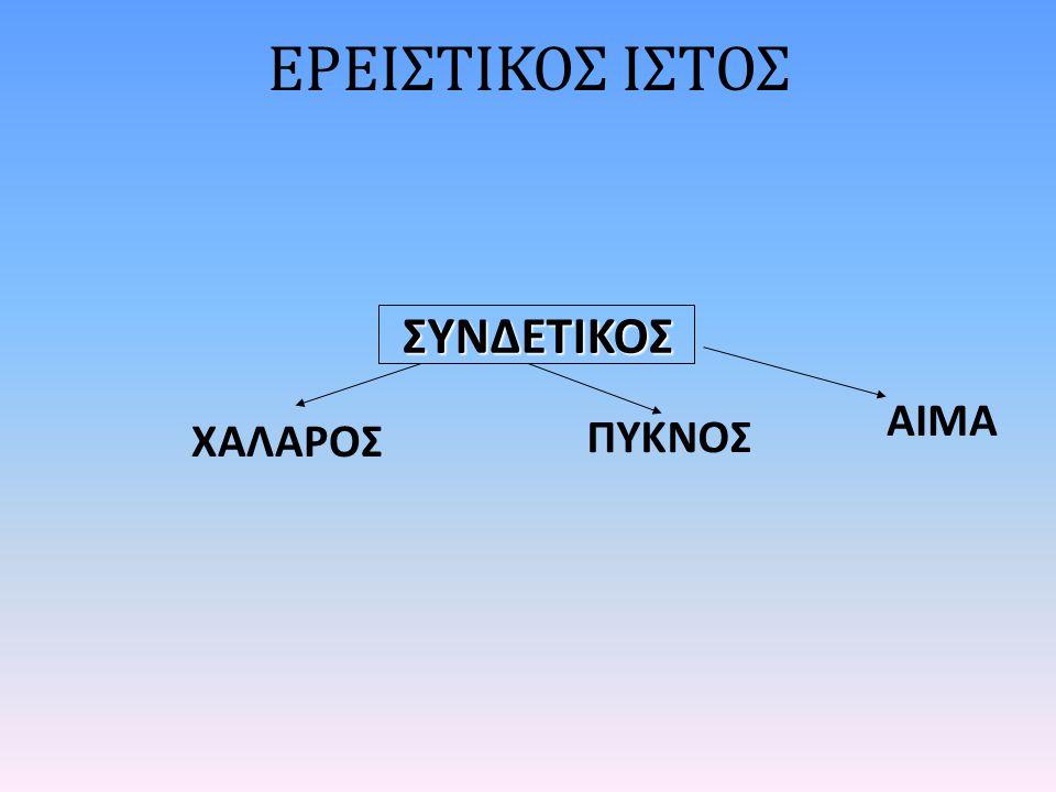 ΕΡΕΙΣΤΙΚΟΣ ΙΣΤΟΣ ΧΑΛΑΡΟΣ ΣΥΝΔΕΤΙΚΟΣ ΠΥΚΝΟΣ ΑΙΜΑ