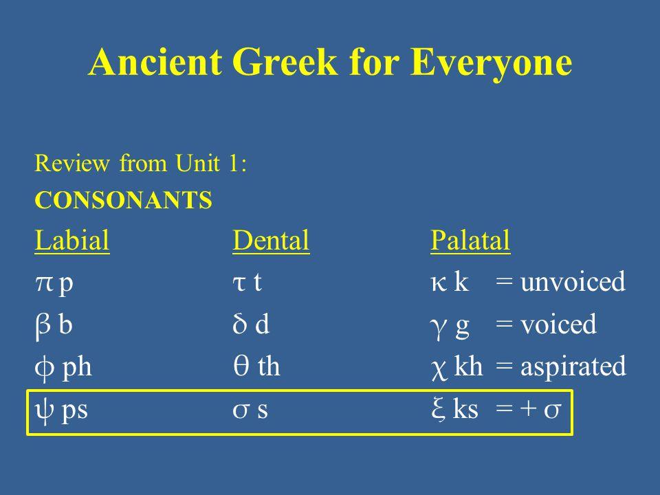 Ancient Greek for Everyone Unit 7 part 3 Vocabulary: NT (New Testament) ἄγω, ἄξω lead, bring, pass (time) – συνάγω gather together, assemble – ὑπάγω go away, depart ἀνοίγω - ξω open ἄρχω - ξω begin, lead, rule (+ gen.) ὑπάρχω exist, be, belong to διδάσκω, διδάξω teach διώκω - ξω pursue δοκέω, δόξω seem