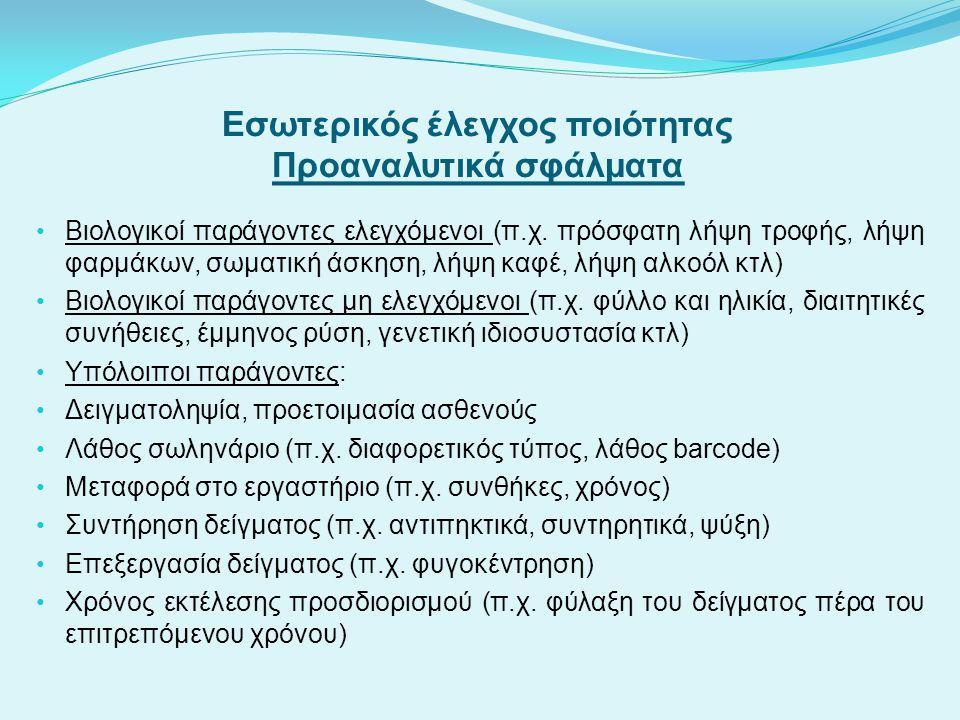 Εσωτερικός έλεγχος ποιότητας Προαναλυτικά σφάλματα Βιολογικοί παράγοντες ελεγχόμενοι (π.χ. πρόσφατη λήψη τροφής, λήψη φαρμάκων, σωματική άσκηση, λήψη
