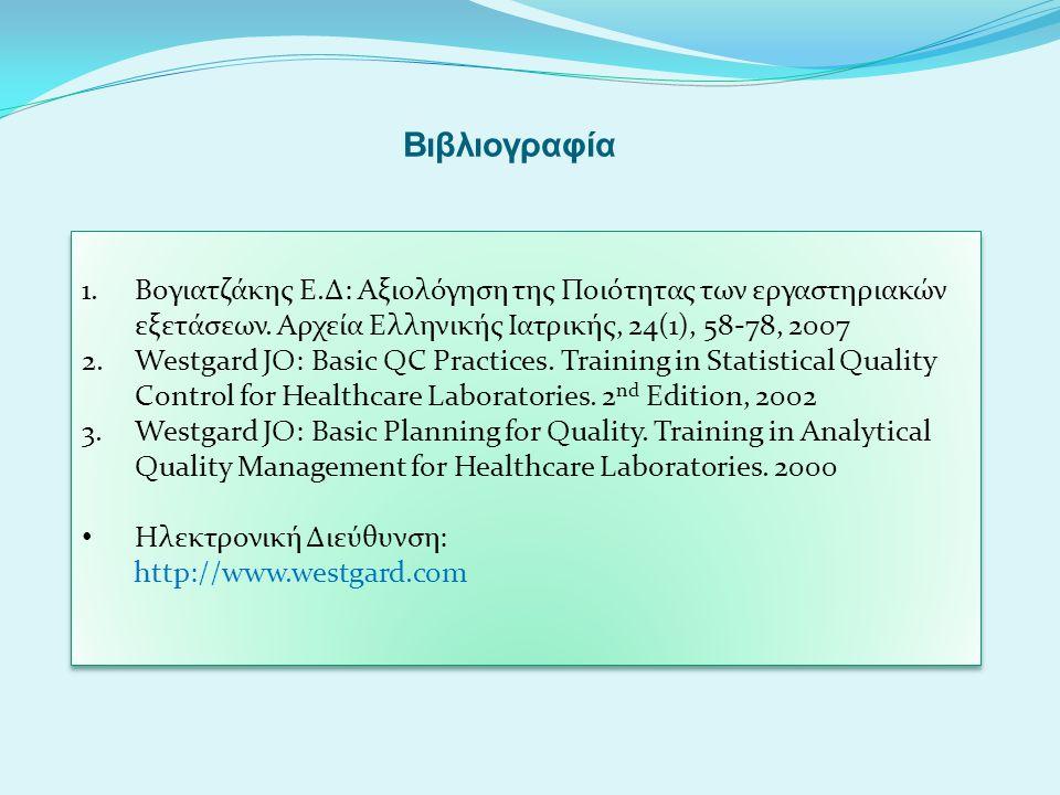 Βιβλιογραφία 1.Βογιατζάκης Ε.Δ: Αξιολόγηση της Ποιότητας των εργαστηριακών εξετάσεων. Αρχεία Ελληνικής Ιατρικής, 24(1), 58-78, 2007 2.Westgard JO: Bas