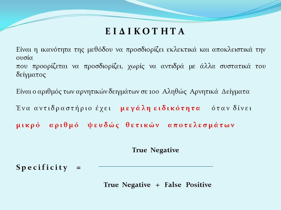 Θετική Προγνωστική Αξία Είναι η πιθανότητα να είναι αληθινό το θετικό αποτέλεσμα ( ΠΑΡΟΥΣΙΑ ΝΟΣΟΥ ) True Positive True Positive + False Positive Αρνητική Προγνωστική Αξία Είναι η πιθανότητα να είναι αληθινό το αρνητικό αποτέλεσμα ( ΑΠΟΥΣΙΑ ΝΟΣΟY ) True Negative True Negative + False Negative