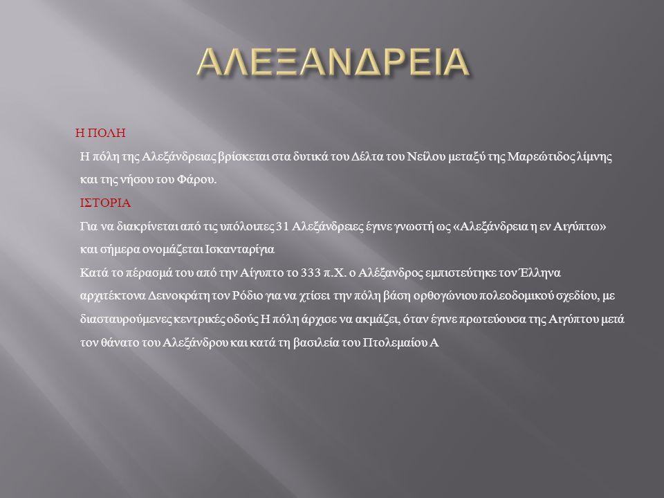 H ΠΟΛΗ Η πόλη της Αλεξάνδρειας βρίσκεται στα δυτικά του Δέλτα του Νείλου μεταξύ της Μαρεώτιδος λίμνης και της νήσου του Φάρου.