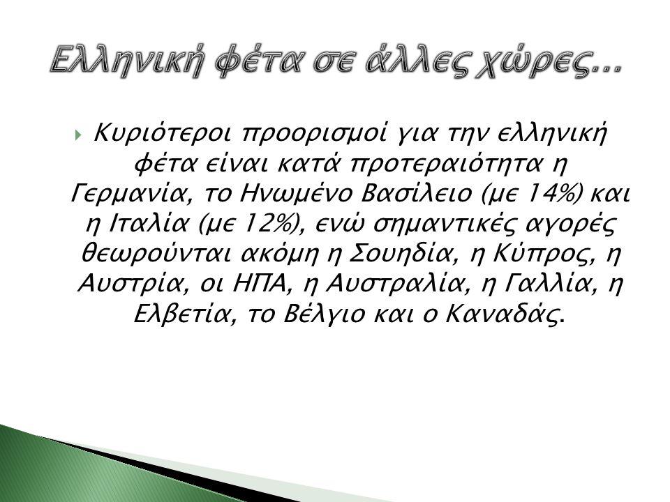  Κυριότεροι προορισμοί για την ελληνική φέτα είναι κατά προτεραιότητα η Γερμανία, το Ηνωμένο Βασίλειο (με 14%) και η Ιταλία (με 12%), ενώ σημαντικές
