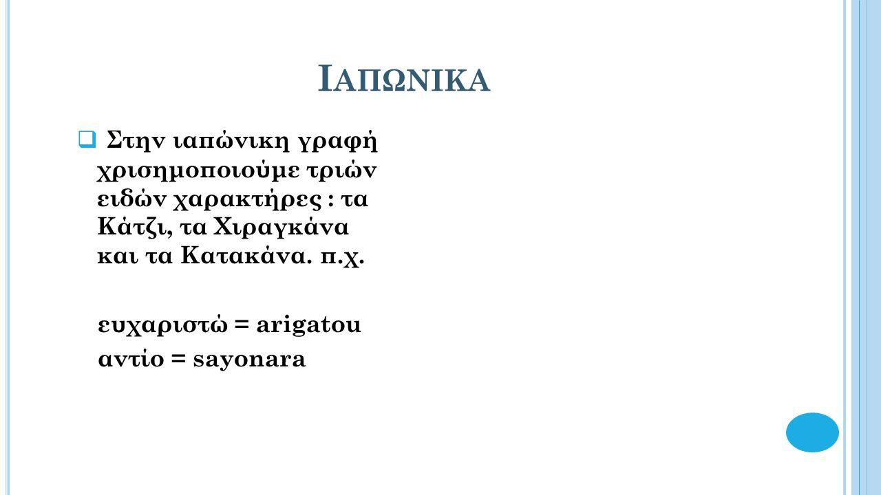 Ι ΑΠΩΝΙΚΑ  Στην ιαπώνικη γραφή χρισημοποιούμε τριών ειδών χαρακτήρες : τα Kάτζι, τα Χιραγκάνα και τα Κατακάνα.