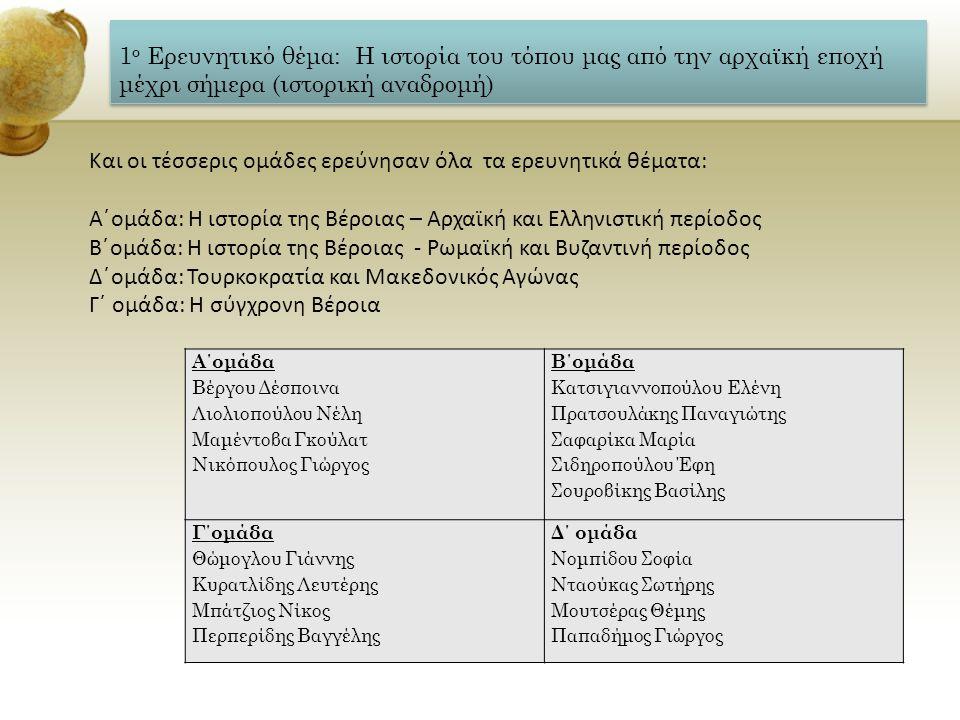 1 ο Ερευνητικό θέμα: Η ιστορία του τόπου μας από την αρχαϊκή εποχή μέχρι σήμερα (ιστορική αναδρομή) Α΄ομάδα Βέργου Δέσποινα Λιολιοπούλου Νέλη Μαμέντοβ