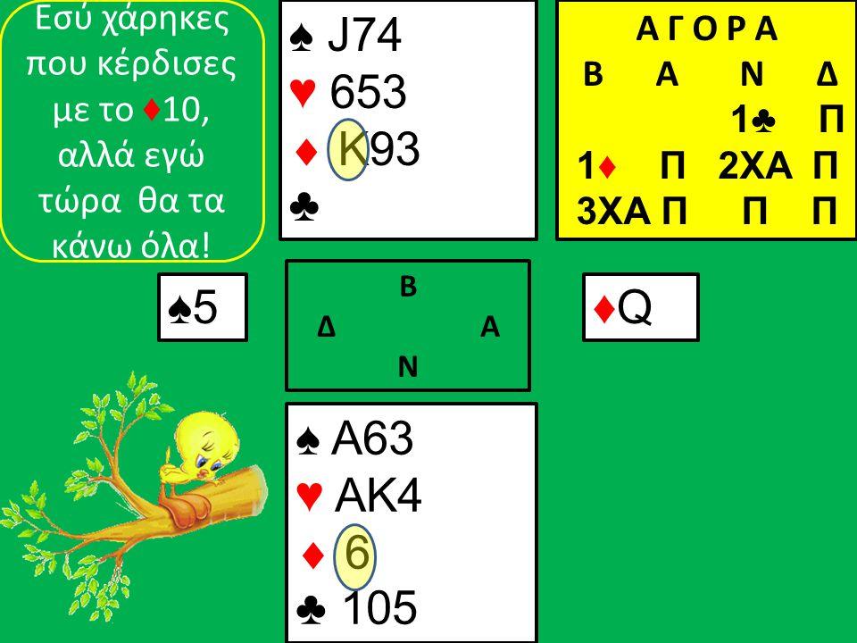 ♠ A63 ♥ AK4  6 ♣ 105 ♠ J74 ♥ 653  K93 ♣ ♠5♠5 Β Δ Α Ν ♦Q♦Q Α Γ Ο Ρ Α B Α Ν Δ 1♣ Π 1♦ Π 2XA Π 3ΧΑ Π Π Π Εσύ χάρηκες που κέρδισες με το ♦ 10, αλλά εγώ τώρα θα τα κάνω όλα!