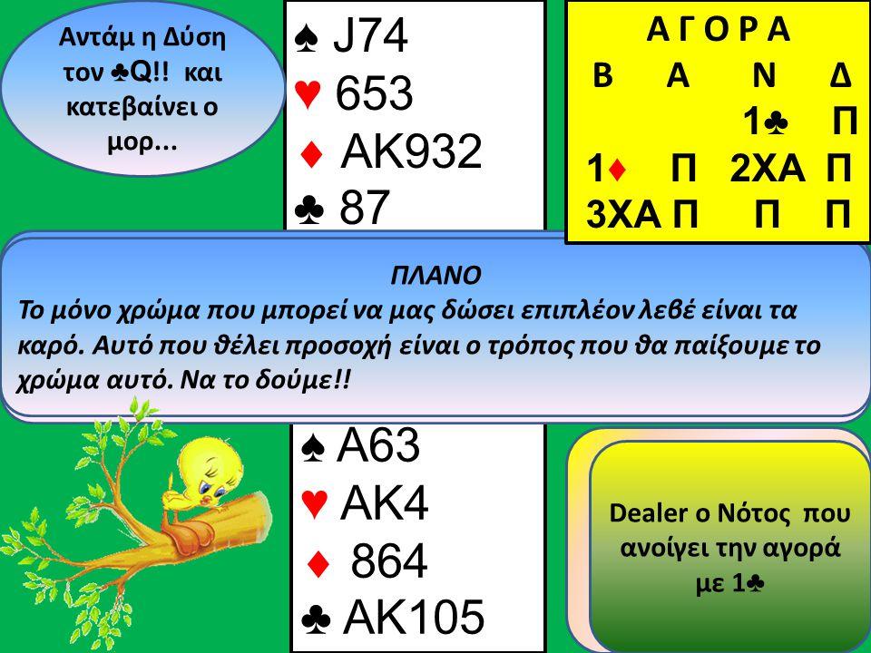 ♠ A63 ♥ AK  ♣ 105 ♠ J74 ♥ 653  3 ♣ ♥9♥9 Β Δ Α Ν ♠2 Α Γ Ο Ρ Α B Α Ν Δ 1♣ Π 1♦ Π 2XA Π 3ΧΑ Π Π Π Άντε και το τελευταίο καρό!!!