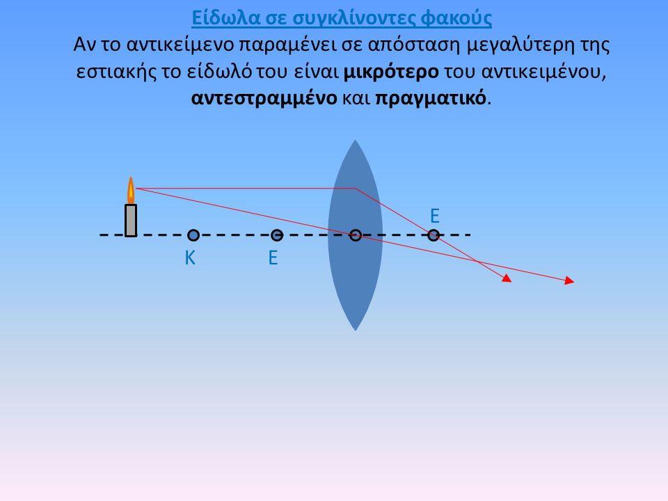 Είδωλα σε συγκλίνοντες φακούς Αν το αντικείμενο παραμένει σε απόσταση μεγαλύτερη της εστιακής το είδωλό του είναι μικρότερο του αντικειμένου, αντεστρα
