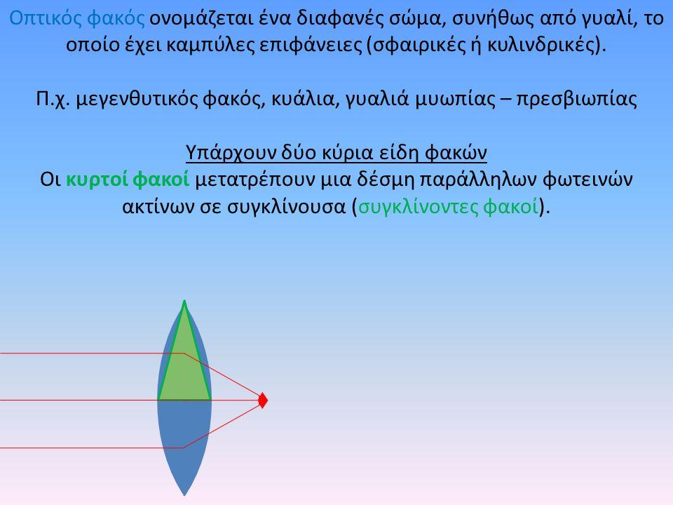 Οπτικός φακός ονομάζεται ένα διαφανές σώμα, συνήθως από γυαλί, το οποίο έχει καμπύλες επιφάνειες (σφαιρικές ή κυλινδρικές). Π.χ. μεγενθυτικός φακός, κ