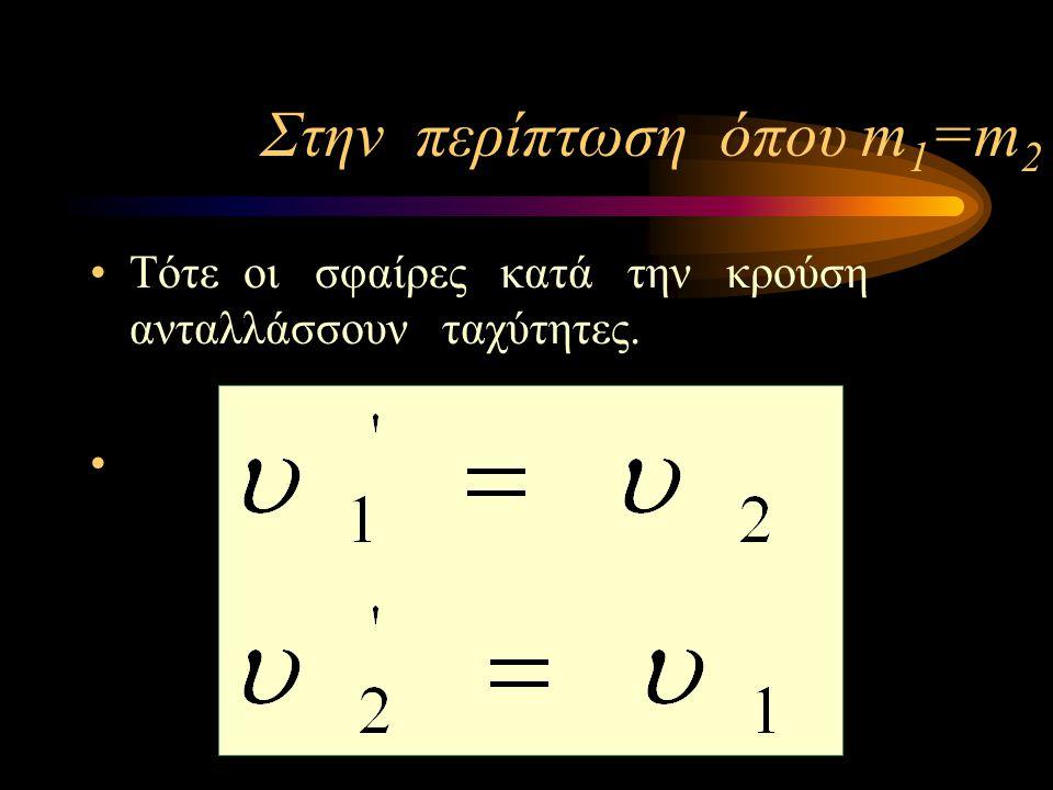 Κεντρική ελαστική κρούση δύο σφαιρών στην περίπτωση που η Σ 2 είναι ακίνητη πριν την κρούση (u 2 =0) u1u1 u 2 =0 Πριν την κρούση u2'u2' u1'u1' Μετά τη